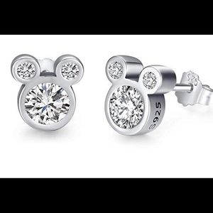 Mickey Mouse sterling silver cz stud earrings New